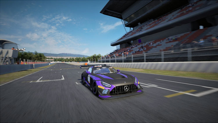 Front row race starter Thiago Alves #12 Mercedes-AMG GT3 Evo clinches his maiden victory at Barcelona-Catalunya finishing over 13 seconds ahead of Josh Staffin #23 Lamborghini Gallardo who secures the second-place podium.