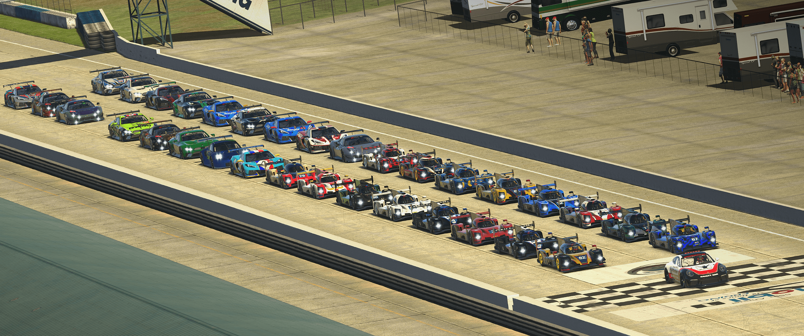 The iRTES starting grid at Sebring.